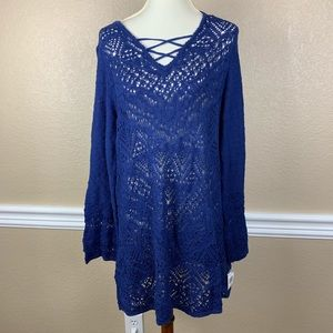 Style & Co. Royal Blue Lace Up Open Knit Tunic